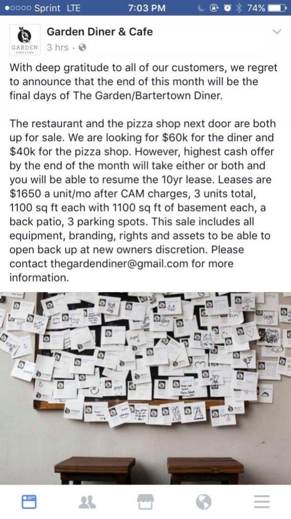 Anúncio do fechamento do restaurante. Os equipamentos não foram socializados