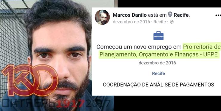 Perfil de Marcos Danilo no Facebook: funcionário da UFPE se envolveu em briga dentro da própria universidade