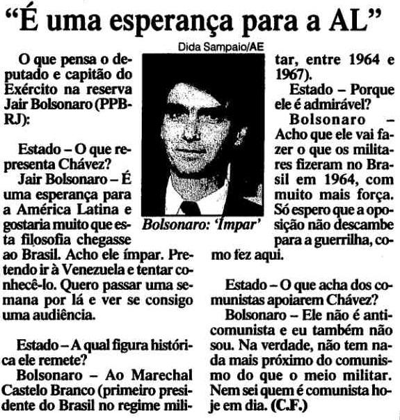 Recorte do jornal O Estado de São Paulo, 4 de setembro de 1999, página A7